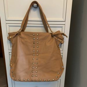 Faux Leather Tan Tote With Gold Studs